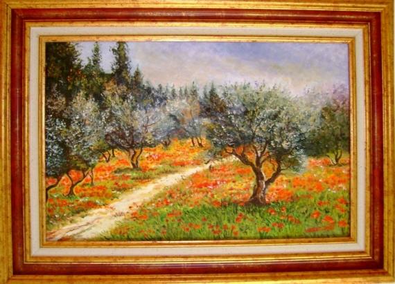 TABLEAU PEINTURE champ oliviers coquelicots Paysages Peinture a l'huile  - Champ d'oliviers et coquelicots 2012