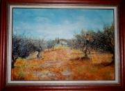 tableau paysages champ oliviers provence : Cueillette des olives 2006