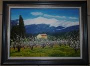 tableau paysages verger maison mont ventoux : Verger au pied du Géant de Provence 2018