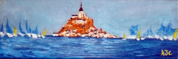 TABLEAU PEINTURE NORMANDIE MONT St MICHEL REGATE VOYAGE Marine Peinture a l'huile  - Mont St michel 2015