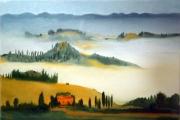 tableau paysages toscane val d orcia brume italie : Le val d'Orcia dans la brume
