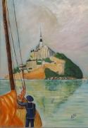tableau marine normandie voyage reve france : ''Retour vers le Mont  ''