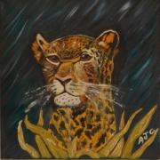 tableau animaux leopard jungle fauve nuit : LEOPARD