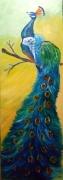tableau animaux paon oiseau bleu couleurs : LE PAON