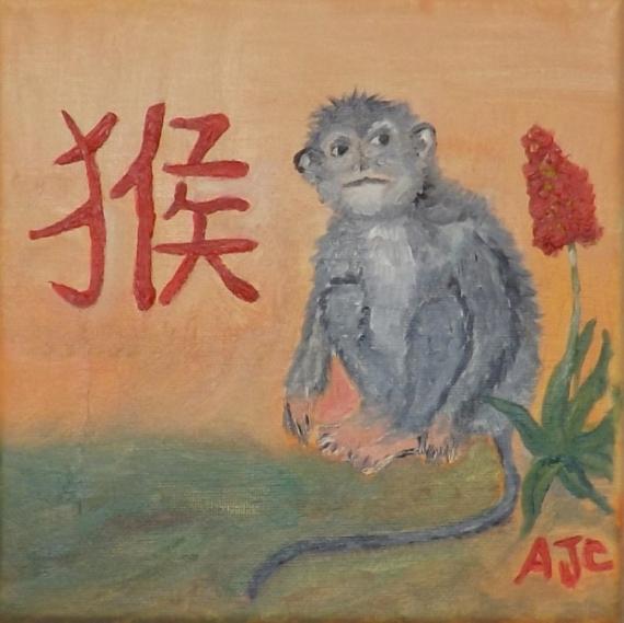 TABLEAU PEINTURE ASTROLOGIE CHINOISE 2016 SINGE Animaux Peinture a l'huile  - 2016 ANNEE DU SINGE