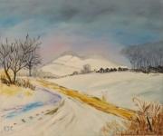 tableau paysages paysage neige quietude zen : PAYSAGE DE NEIGE