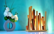sculpture abstrait lampe bois lampe design lampe sculpture lampe luxe : carino