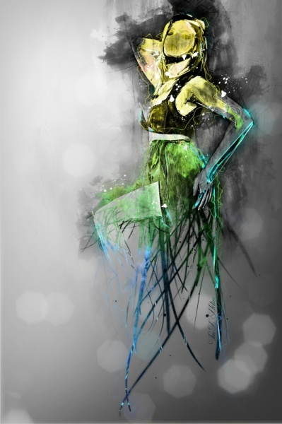 PAINTING femme gilr grey green Personnages  - Retrospect