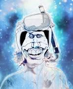 art numerique personnages motard eau plongee caricature : Tronche de ...