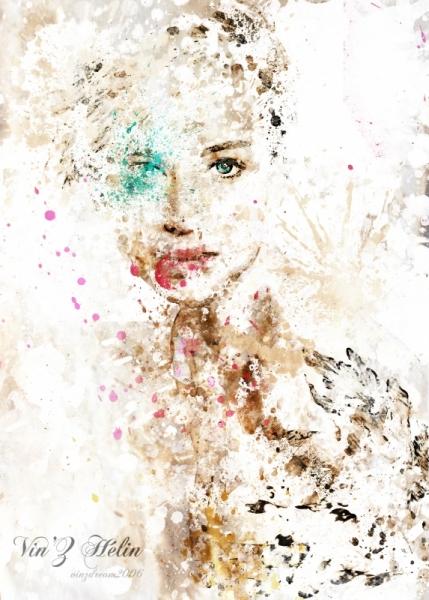 ART NUMéRIQUE portrait dessin numerique art digital toile Personnages  - jen splatter