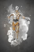 art numerique personnages starwars dessin digital splatter : C3po