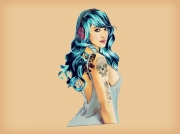 art numerique personnages femme tatoo girl bluehair : Girl Tatoo