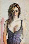 art numerique personnages portrait toile vinz helin regard : P.woman
