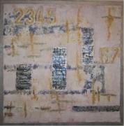 tableau abstrait abstrait bleu gris or : 2345