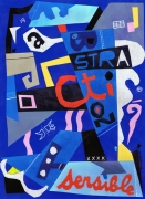 tableau abstrait abstraction sensible collage bleu : Abstraction sensible