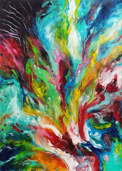 TABLEAU PEINTURE nature fleurs mouvement decoration Fleurs Acrylique  - éclosion peinture abstraite