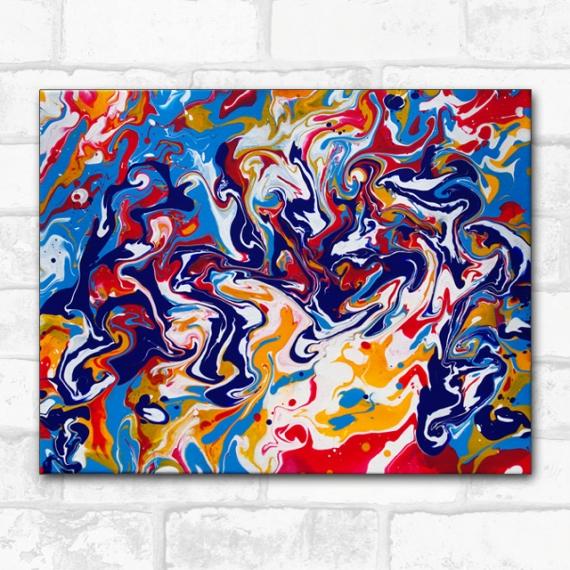 TABLEAU PEINTURE pouring tourbillons liquid art Abstrait Acrylique  - effusion de couleurs, peinture abstraite joyeuse