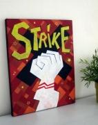 tableau scene de genre greve bowling syndicat poing : Strike