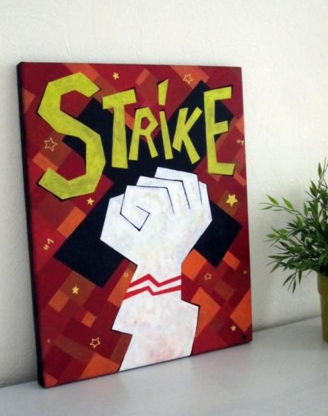 TABLEAU PEINTURE greve bowling syndicat poing Scène de genre Acrylique  - Strike