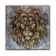 tableau animaux felin gardien dore ornemental : Lion d'or - Tableau animaux
