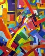 tableau abstrait couleurs joyeux dynamique moderne : La nouvelle harmonie