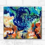 tableau abstrait pouring abstrait orange bleu : Rorschach orange et bleu, peinture abstraite