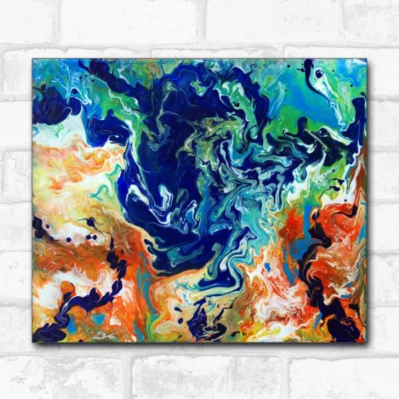 TABLEAU PEINTURE pouring abstrait orange bleu Abstrait Acrylique  - Rorschach orange et bleu, peinture abstraite