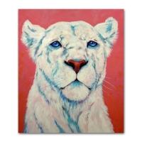 Lionne blanche tableau animaux