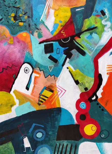 TABLEAU PEINTURE multicolore amusant chambre enfant salon Abstrait Acrylique  - Mixus peinture abstraite