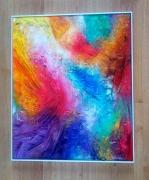 tableau abstrait texture relief matiere emotion : Céleste tableau abstrait