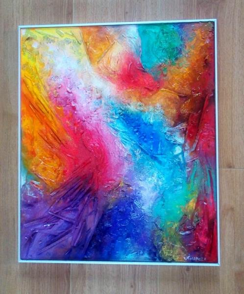 TABLEAU PEINTURE texture relief matière émotion Abstrait Acrylique  - Céleste tableau abstrait