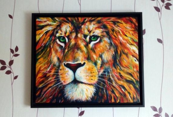 TABLEAU PEINTURE félin lion zen animaux Animaux Acrylique  - Lion de feu