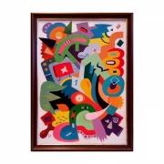 tableau abstrait street art multicolore graphic happy : Tableau abstrait Entropie M8