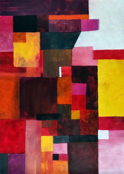 TABLEAU PEINTURE chaleur geometrie ambiance cubisme Abstrait Acrylique  - Peinture abstraite - Entropie m51