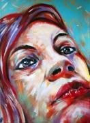 tableau personnages visage femme portrait gros plan : La fille aux cheveux rouges. Pop portrait.
