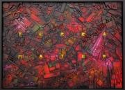 tableau abstrait texture relief mozaique : Terra Mater