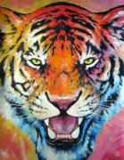 tableau animaux tiger felin animal tigre : Tigre arc-en-ciel