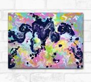 tableau abstrait rose abstrait rorschach : Tableau abstrait rose et violet, Le test de Rorschach