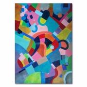 tableau abstrait geometrique multicolore cubisme pastels : Entropie M11