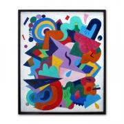 tableau abstrait abstraction multicolore geometrique formes : Tableau abstrait Entropie M15