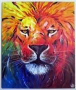tableau animaux felin multicolore couleurs arc en ciel : Lion arc-en-ciel
