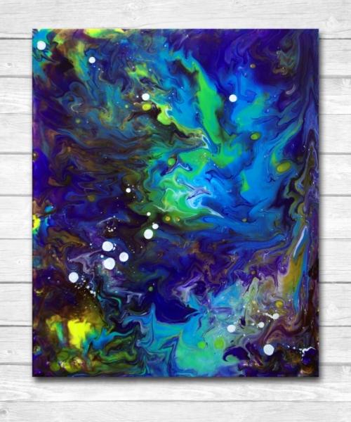 TABLEAU PEINTURE espace pouring ambiance Abstrait Acrylique  - Galaxie peinture abstraite
