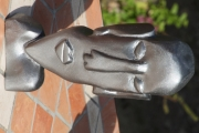 sculpture personnages tete sculpture bois peint : tête