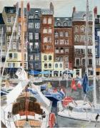 tableau villes honfleur normandie bateaux : Honfleur