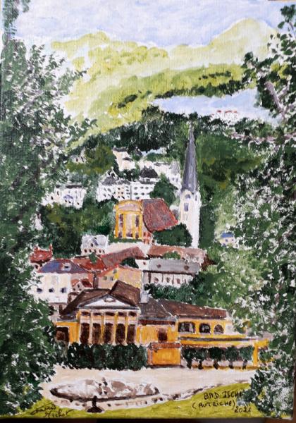 TABLEAU PEINTURE Autriche Bad Ischl Tyrol Villes Acrylique  - Bad Ischl