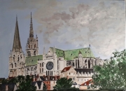 tableau architecture chartres cathedrale centre eureetloir : Chartres