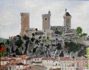 tableau architecture foix chateau ariege pyrenees : Foix
