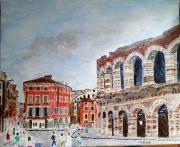 tableau architecture verone italie theatre antique romeo et juliette : VERONE