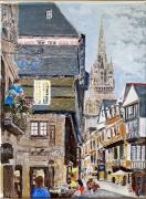 tableau villes quimper finistere bretagne cathedrale : Quimper