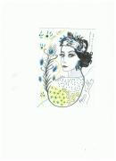 dessin personnages visage femme pastel : Années folles bleues